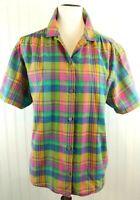 VINTAGE 80s India Madras Plaid LADIES Camp Shirt M L Short Sleeve Cotton BRIGHT