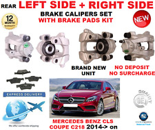 FOR MERCEDES BENZ CLS COUPE 2014->ON REAR LEFT + RIGHT BRAKE CALIPERS + PADS SET