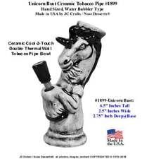 Unicorn Bust Ceramic Glass modern Hookah Type Tobacco Pipe #1899, Made in USA