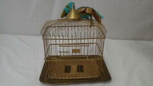 "Nice Antique Vintage HENDRYX USA Brass Bird Cage 12"" x 8 3/4"""
