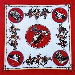 *USA Made RODEO COWBOY WESTERN Boots Hat RED Flag Bandana Bandanna Scarf Scarve