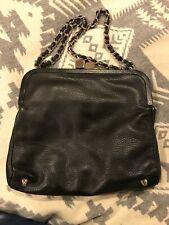 Jill Stuart Black Leather Handbag With Silver Chain Link Handle