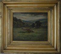 Jane Una MACQUEEN (XIX-XX) Pastoral Lanscape Scene with Cattle Oil on Canvas