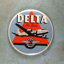 "Vintage Style Airline Luggage Label Fridge Magnet 2 1/4"" Delta Airlines DC 7"