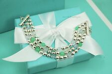 "Tiffany & Co. VINTAGE Chalcedony Moonstone Triple Strand Bracelet 6.5-8"" #1129"