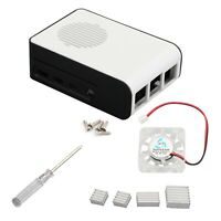 ABS Case Enclosure With Heatsink Cooling fan For Raspberry Pi 4 Model B 4B White