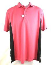 Brand New Pga Tour Men's Medium Golf Polo Pink w/Black Trim Nwot Polyester