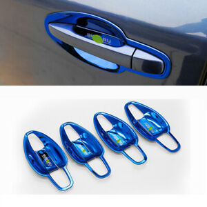 Blue titanium side door bowl cup cover trim 8pcs For Subaru forester 2013-2018