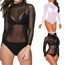 Ladies Women's Turtle Polo High Neck Long Sleeve Mesh Leotard Bodysuit UK 8-26