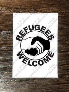 REFUGEES WELCOME CIRCLE Sticker Packs (25-1000) - PEACE FREEDOM LOVE UNITY