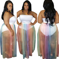Sexy Plus Size Women Strapless Perspective Mesh Patchwork Dress with Underpants