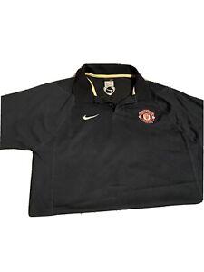 Men's Nike Manchester United Sz L Polo Shirt Black England Logo
