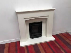 CVO Fire Inset Natural Gas Fire with white stone Surround, Hearth and Backing