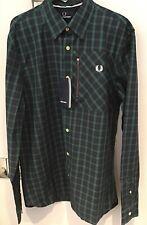 Fred Perry : Zip Pocket Lamont Tartan Long Sleeve Shirt ( M) Dark Carbon