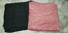 Two 7 Foot Rectangle Tablecloths Heavy Crinkle Fabric Mauve and Black Solids