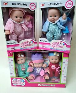 BABY DOLLY 20cm Set Cute DOLL Toy Accessories Boy Girl/Boy NEW BOXED Pink/Blue