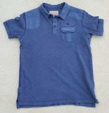 NEXT Mens Blue Military Style Short Sleeve Cotton Polo Top Sz Small