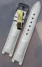 18mm /16 echt Alligator compatibel PASHA KROKOBAND Rios Clasp Watch Strap white