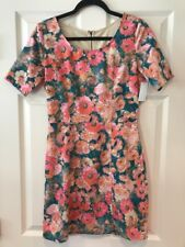 Sunday in Brooklyn Anthropologie Pink/Blue Floral Print Dress, Size Small