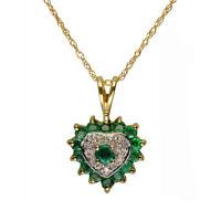 "9ct Yellow Gold Emerald Birthstone & 0.015ct Diamond Heart Pendant & 18"" Chain"