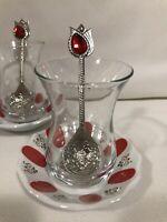 Traditional Turkish Tea set Red -Set of 2 - 2 Tea Glass & 2 Saucer & 2 Tea Spoon