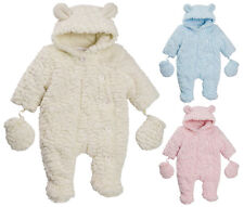 Baby Girls Boys Luxury Feather Hooded Fleece Snowsuit Pramsuit Coat Mittens Gift