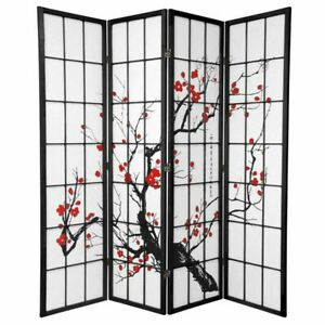 Cherry Blossom Room Divider Screen Black 4 Panel