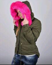 Parka donna giubbotto giubbino cappotto lungo verde cappuccio S M L XL imbottito