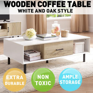 Wooden Coffee Table Shelf Storage Drawer Tables Tabletop Modern Home Furniture