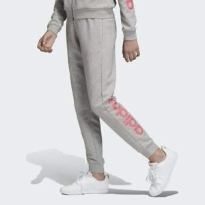 Adidas Grey & Pink French Terry Linear Joggers for Girls Sport Casual Gym NEW