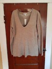 NWT NYC Women's M Beige 100% Acrylic V-Neck Sweater