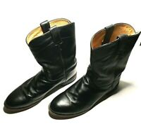 JUSTIN Black Leather Classic Mens Western Cowboy Boots Men's Size 12EE (BT-2)