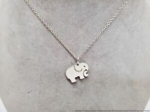 Tiffany & Co. .925 Sterling Silver Elephant Never Forgets Pendant Chain Necklace