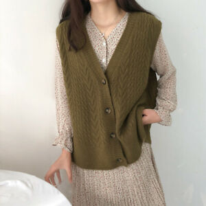 2021 new woman Button Sweater Vest Knitted Shawl Collar Sleeveless c
