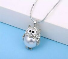 Large pearl owl necklace crystal owl large pearl stone birthday christmas 425
