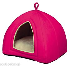 Maira Bright Pink Suede Look Luxury Cuddly Cat Cave Igloo Bed