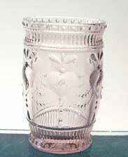 Heart juice glass tumbler, Drinkware glass, cap 10 oz, Pink, set of 4