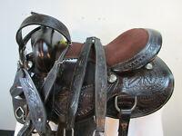 17 16 15 USED TRAIL SADDLE WESTERN HORSE DARK BROWN TOOLED LEATHER PLEASURE SET