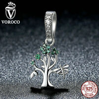 Voroco Tree Of Life Charm 925 Sterling Silver Pendant CZ Bead For Women Bracelet