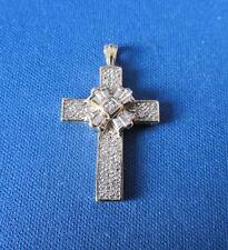 14K Yellow Gold Diamond Cross Pendant - 1/4 Carat Total Diamond Wt.