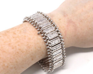 Superb Heavy Antique Victorian 925 Sterling Silver Statement Bracelet 46g #28407