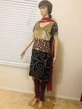 Pure Chiffon Readymade size 6-8 Churidar Indian Suit. Elegant work.