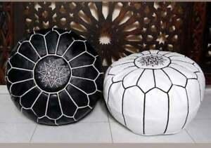 Set of 2 Moroccan Leather Ottoman Pouffe Pouf Footstool Handmade Leather ottoman