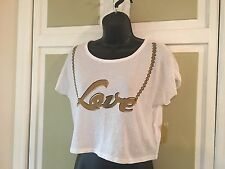 Niki Minaj Brand Super Cute White Crop Top w/ Gold Embellishments Sz S NWT