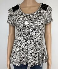 Anthropologie Knitted Knotted Blouse Medium Black Floral Peplum Cotton Cashmere