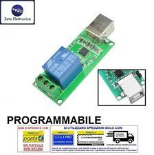 MODULO RELE' A CONTROLLO USB 5V DC / 220V AC SCHEDA PROGRAMMABILE RELAY SHIELD.