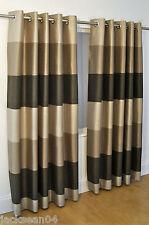 Brésil brun beige rayé Faux Silk Lined Ring Top 229CM x 183cm rideaux OIR