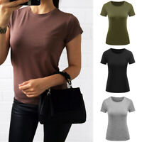Women Solid Color Round Neck Short Sleeve Summer Casual Basic T-Shirt Tops S-XXL