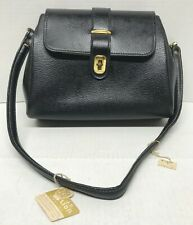 VINTAGE RARE Purse Black Leather Hand Bag JB Lion 70's NEW
