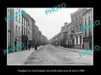 OLD LARGE HISTORIC PHOTO OF YOUGHAL Co CORK IRELAND, MAIN ST & STORES c1900 1